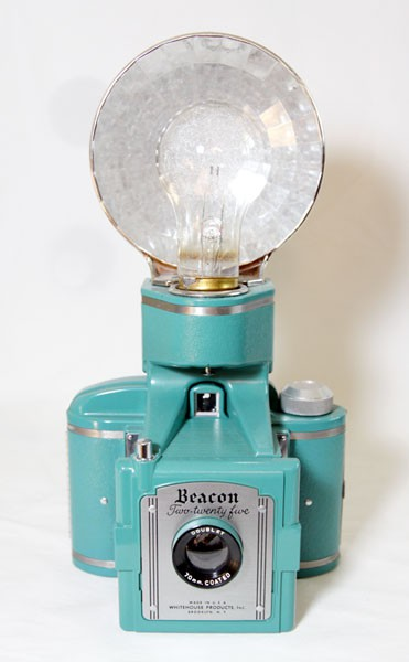 turquoise blue vintage beacon camera with flash