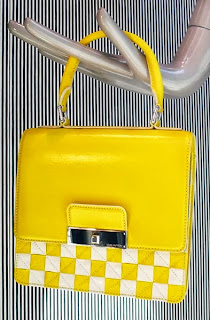 Louis Vuitton bright yellow, checked bag.
