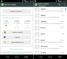 WhatsApp update - Pay a Friend & Number of Contacts
