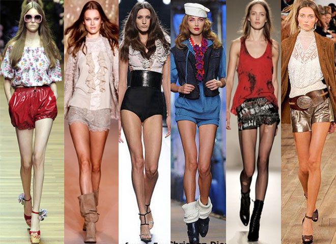 Collection of short shorts on the fashion runways