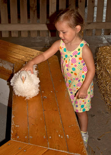 Sierra pets a chicken at Purina Farms