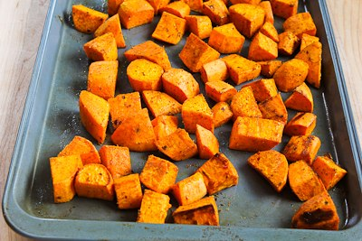 Easy Recipe For Spicy Roasted Sweet Potatoes And Chicken-Garlic ...