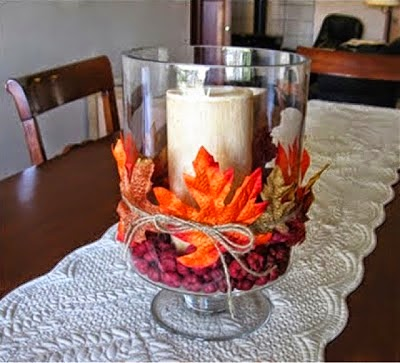 candles, fall candle, fall centerpiece, berries, leaves, fall leaves