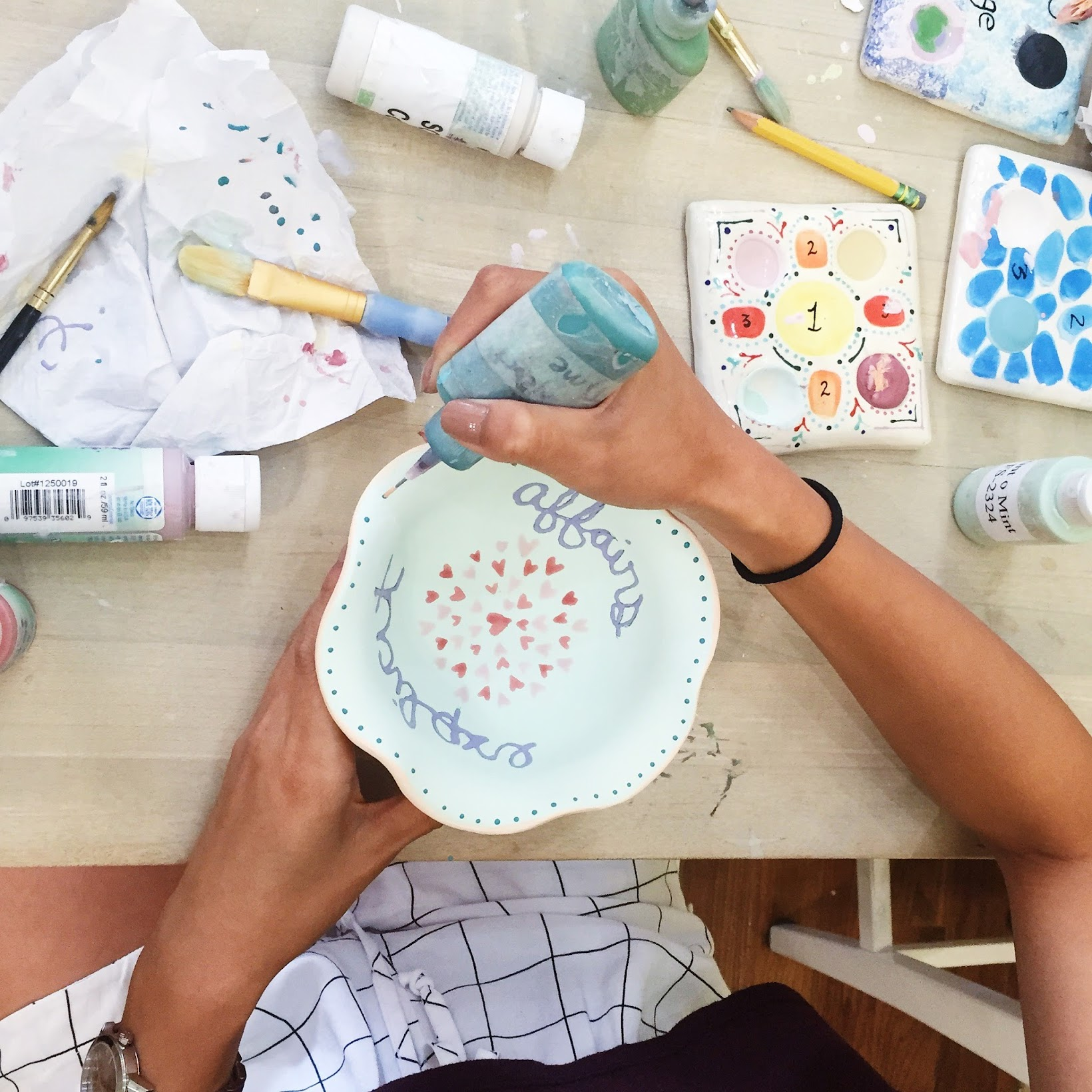painting ice cream bowl at painted pots