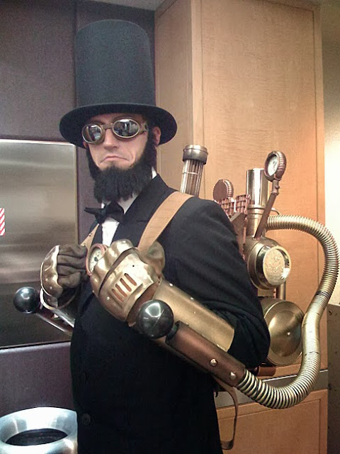 steampunk clothing, mens clothing, top hat, goggles, jetpack