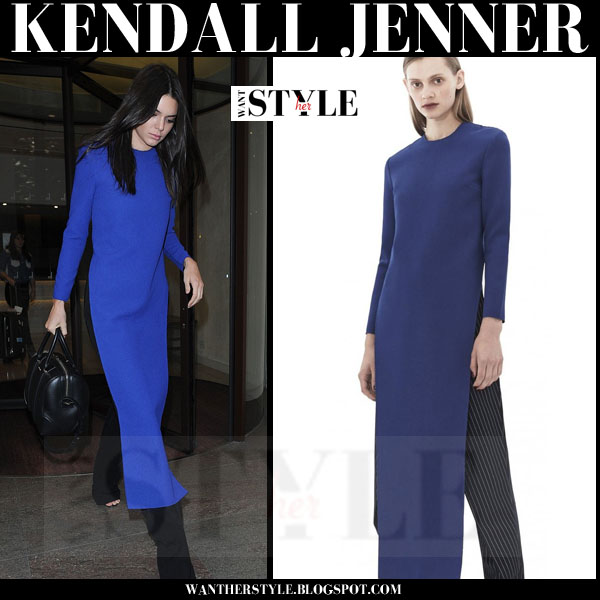 Kendall Jenner in blue long top solace london and black pants what she wore 2015