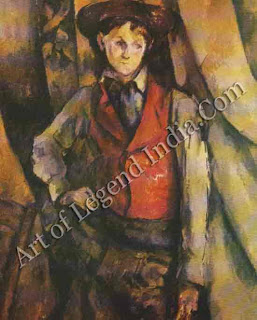 "The Great Artist Paul Cezanne ""Boy in a Re Waistcoat"" 1890-1895 36 ¼"" x 28 3/4"" Collection of Mr. and Mrs. Paul Mellon, Upperville, Virginia"