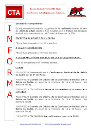 C.T.A. INFORMA, LO REALIZADO EN ABRIL DE 2020