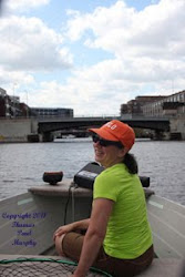 Jeanette with me in my boat on Milwaukee River