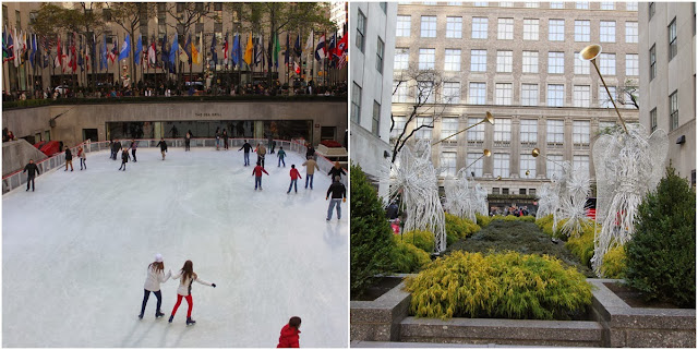 The ice-skating ring and the angels' statues in front of the popular shopping mall, Rockefeller Center in New York, USA