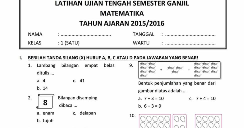 Soal Soal Ujian Sekolah Tahun 2015 2016