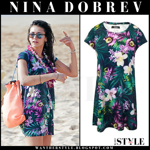 Nina Dobrev in floral tropical print mini dress michael lauren what she wore hawaii beach
