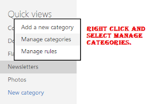 Right click and click Manage Categories to add more categories