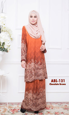 BAJU KURUNG PAHANG ADORIA BERIL LACE COLLECTION (ABL) – CHOCOLATE BROWN