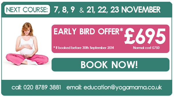 November 2014 Pregnancy Yoga Teacher Training with Yoga Mama. Early bird offer: £695, if booked before 30 September 2014. Email education@yogamama.co.uk for an application form.