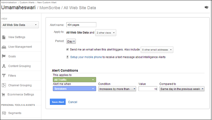 custom alert in Google Analytics