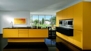modern yellow kitchen cabinets photo