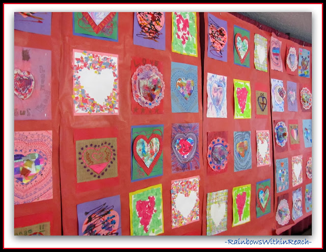 Valentine's Day Collaborative Quilt for Author Illustrator Visit with Debbie Clement