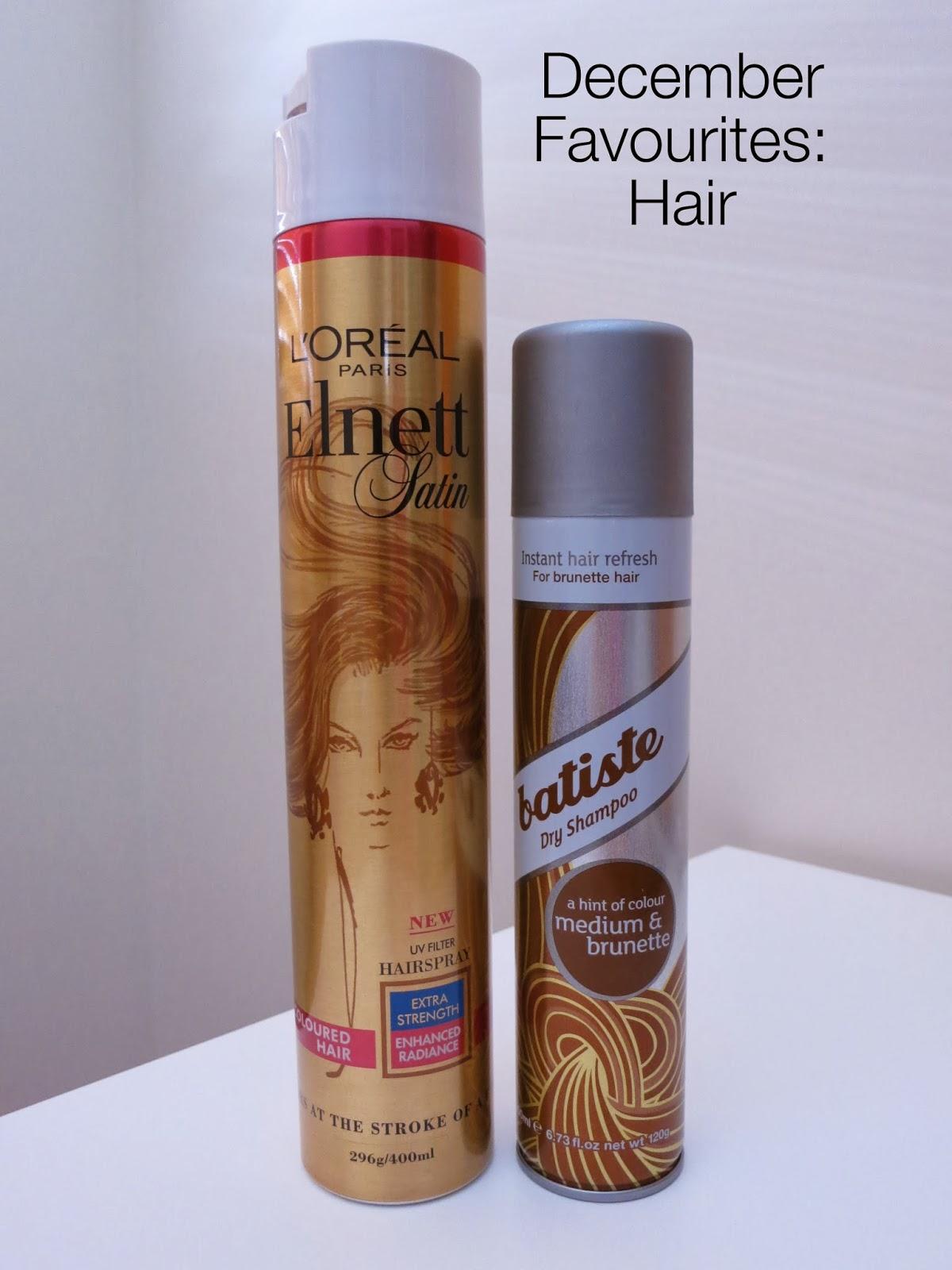 december beauty favourites, 2013 yearly favourites, hair favourites, loreal elnett hairspray, batiste dry shampoo