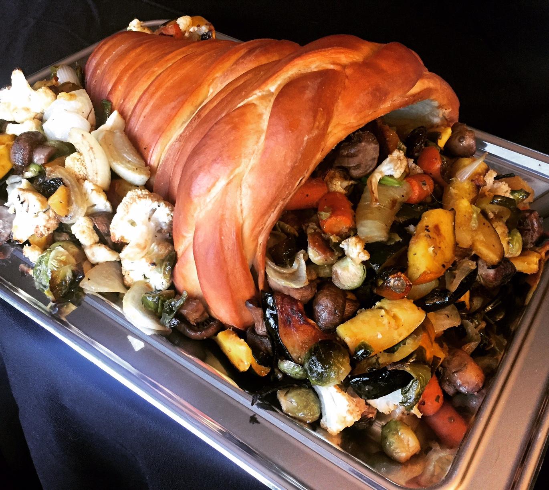 Vegan crunk cornucopia thanksgiving centerpiece