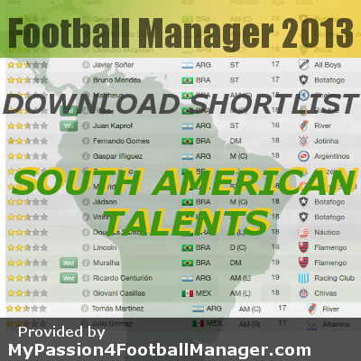 FM13 Shortlist South American Talents