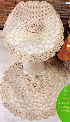 #699 Patrón de Juego de Baño tejido a Crochet