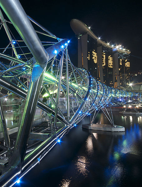 The Helix, Bridge, Double Helix Bridge, Marina Centre, Center, marina south, marina bay, singapore, singapura, Resort Marina Bay Sands, Singapore Flyer, Gardens, 2010, 2012, architecture, mega project, building, photo, under construction