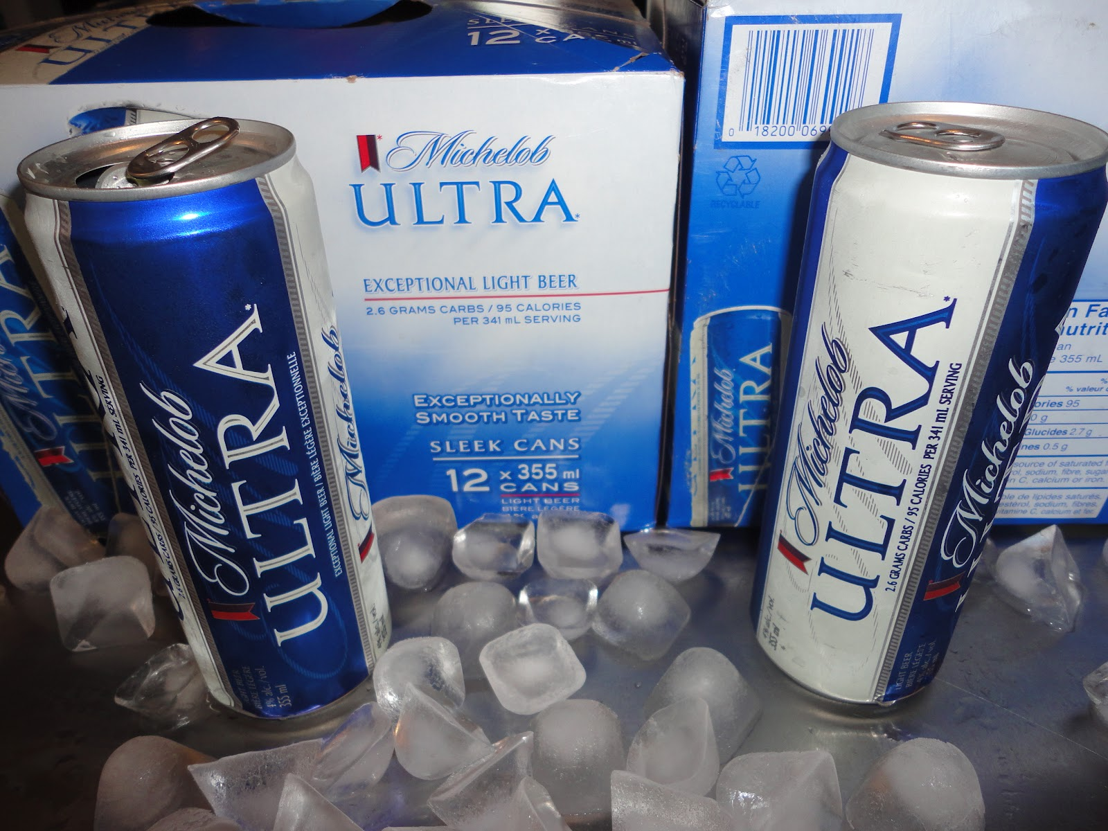 Good Michelob Ultra. 2.6 Grams Or Carbs/ 95 Calories /0.5 Grams Of Protein Per  341ml Serving. Nice Sleek Cans The Way I Love Em! Interesting That They Put  The ... Amazing Design