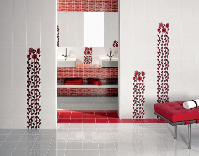 La casa rosso papavero piastrelle effetto decor - Bagno mosaico rosso ...
