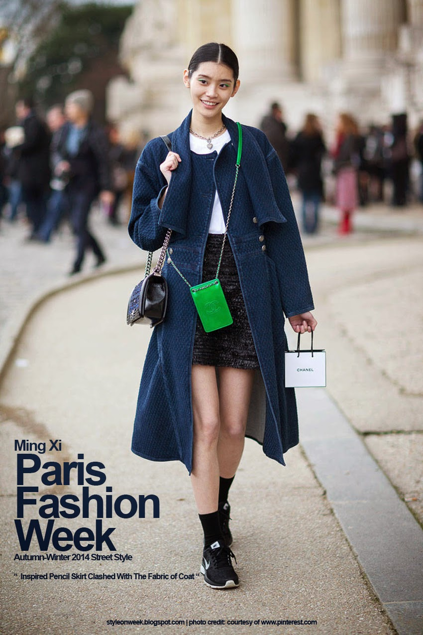 Paris Fashion Week Autumn-Winter 2014 Street Style - Inspired Pencil Skirt Clashed With The Fabric of Coat