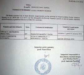 Decizia emisă de ISJ Neamţ privind inspecţiile curente şi speciale, anul şcolar 2013-2014...