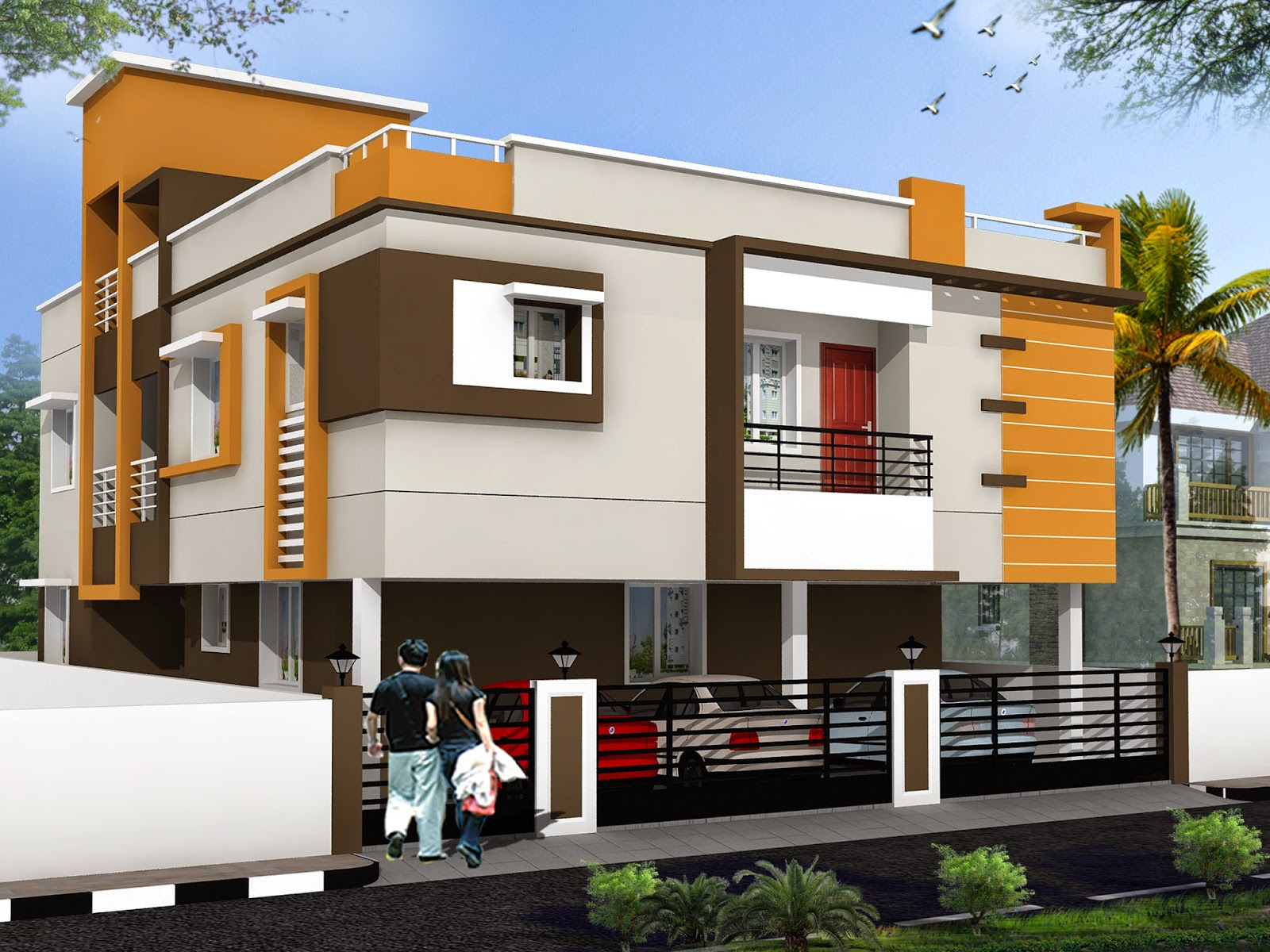Luckydesigners 3d elevation residential building for Elevation design photos residential houses