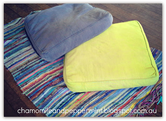 Chamomile and Peppermint Blog - Something New From Something Old - DIY Giant Rag Rug Floor Cushion