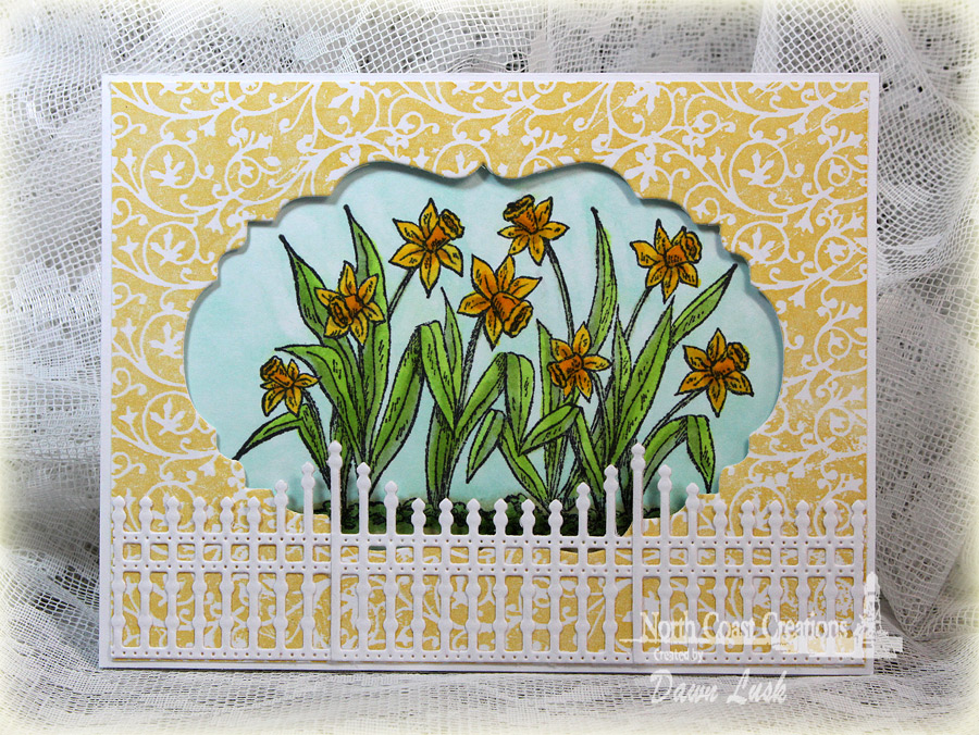 Stamps - North Coast Creations Daffodils, ODBD Custom Gilded Gate Die, ODBD Custom Vintage Labels Die, ODBD Chalkboard Vine Background