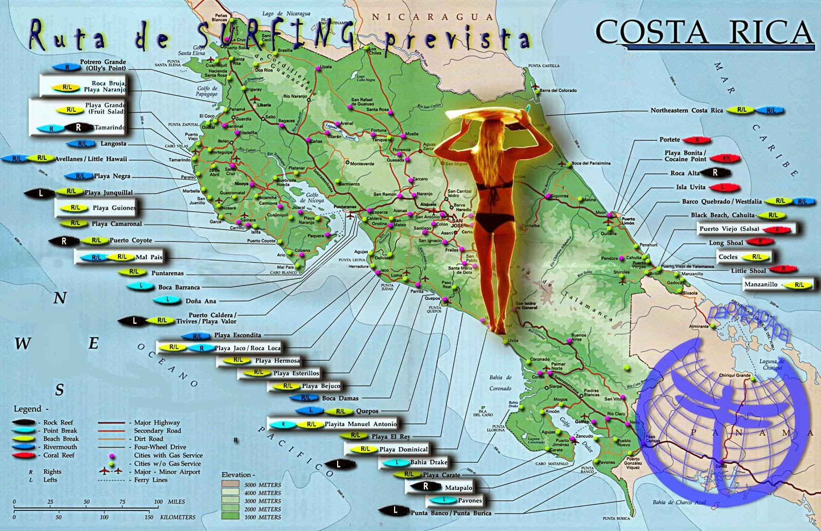 Spots surferos en Costa Rica
