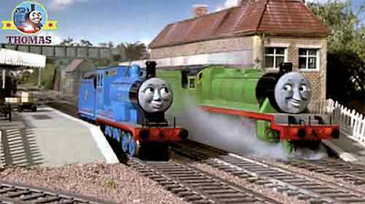 Edward the blue engine and Henry the green engine at Sodor Wellsworth royal Edward the kings station