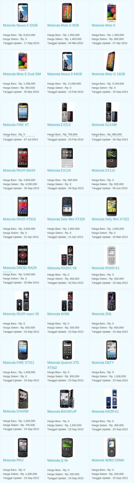 Daftar Terbaru Harga Hp Motorola Oktober 2015