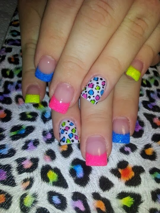 Full cover glitz acrylic with white leopard zebra nail art pink sarah set of nails to compliment neon glitz and leopard neon feat nails nail art prinsesfo Choice Image