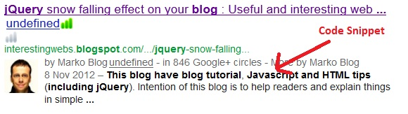 Google SERP code snippet sample