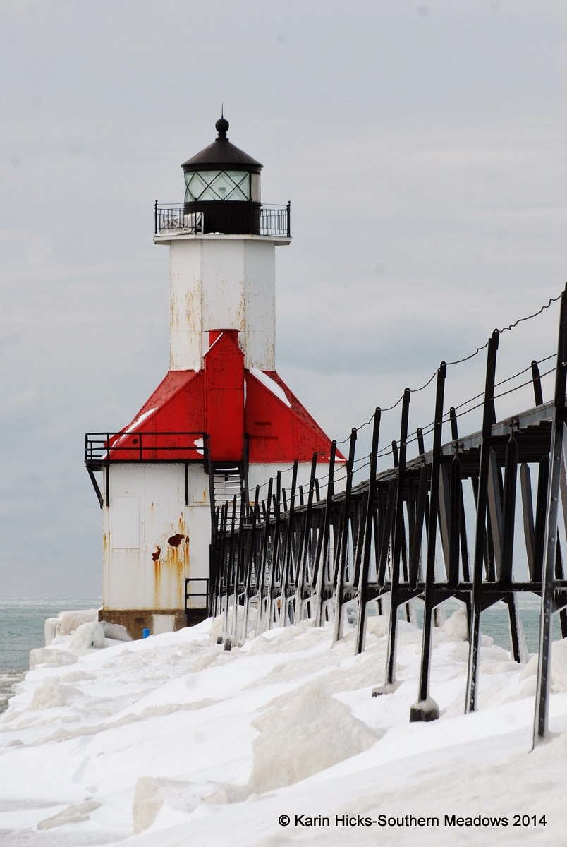 Lighthouse in winter, St. Joseph Michigan