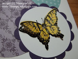 card made with a butterfly from Stampin'UP!'s Papillon Potpourri Stamp set and Designer Paper circles