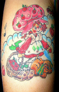 Cartoon Strawberry Shortcake Arm Tattoo