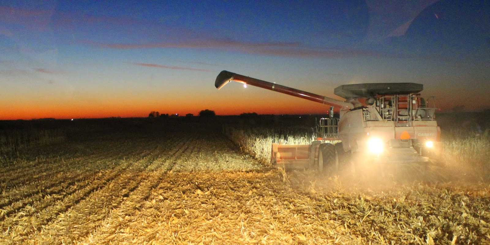 31 Days from a Tractor Seat - Combining Corn at Dusk