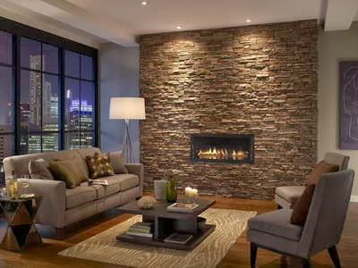 Stacked Stone Tile With Fireplace