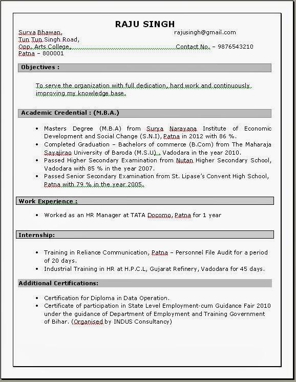Resume Format For Teachers Doc File