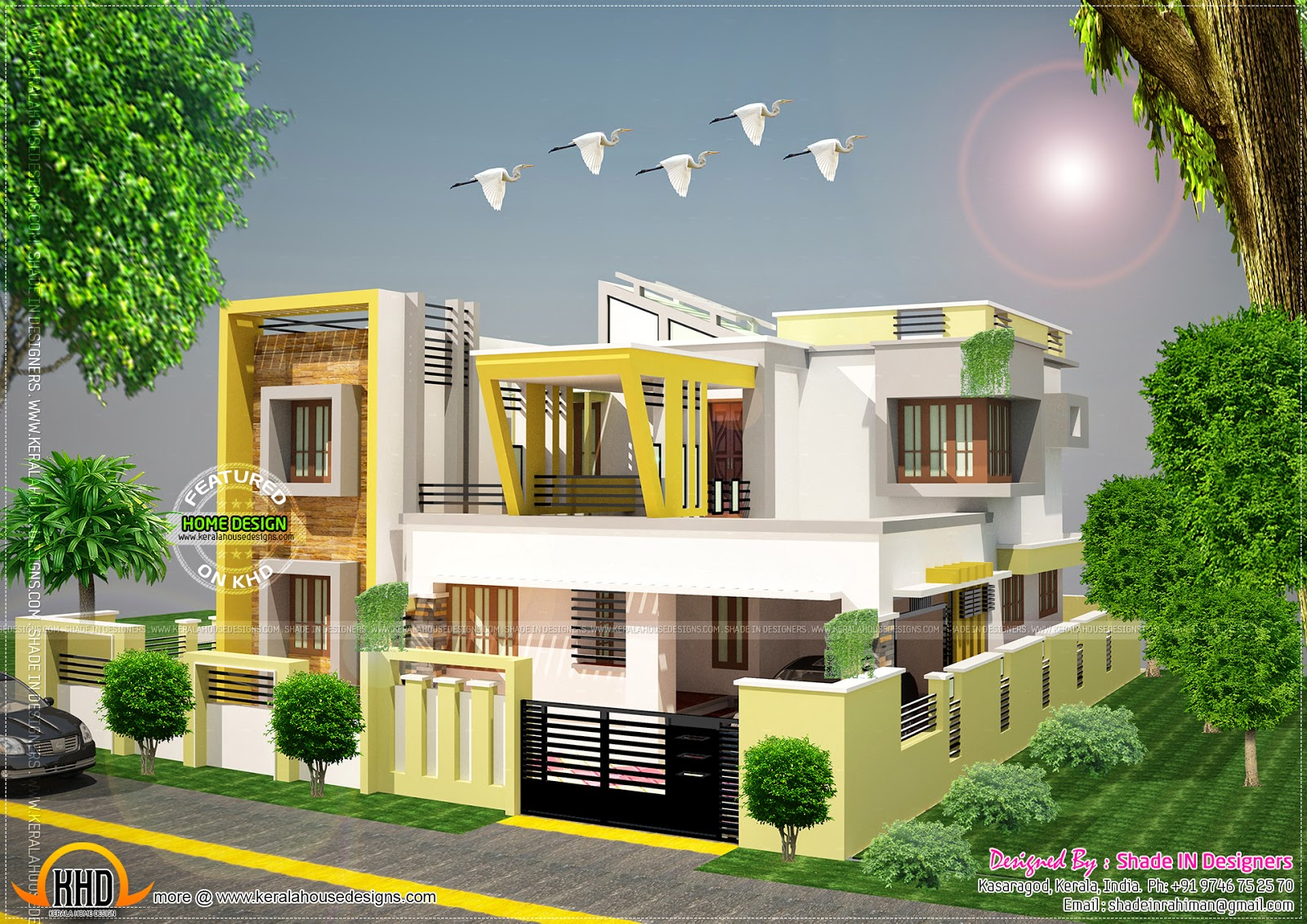 Contemporary style home in kasaragod kerala home design for Contemporary house designs kerala style