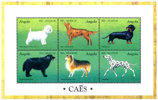 1998年アンゴラ共和国 ウエスト・ハイランド・ホワイト・テリア アイリッシュ・セター ダックスフンド ニューファンドランド シェットランド・シープドッグ ダルメシアンの切手シート