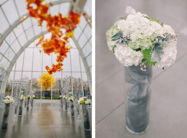 chihuly wedding garden and glass ceremony setup setting