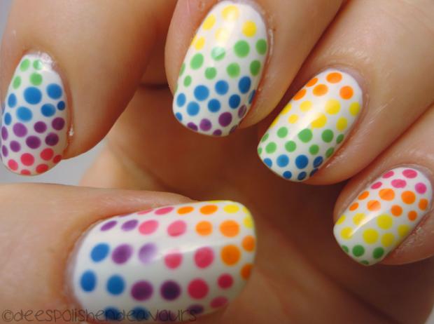rainbow polka dots nails inspired