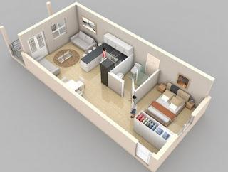 Model Denah Apartemen Studio Minimalis 3D Terbaru